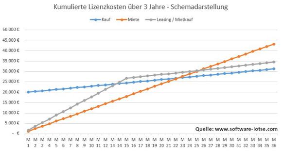 Grafik Kostenverlauf ERP Kauf Leasing Miete software-lotse.com